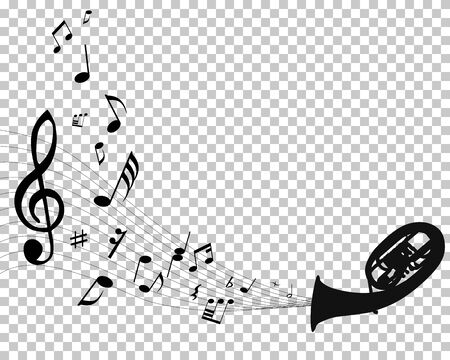 Abstract music background with different notes and wind instruments with transparency grid on back. Vector Illustration.