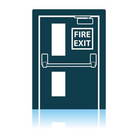 Fire Exit Door Icon. Shadow Reflection Design. Vector Illustration.