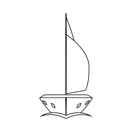 Sail Yacht Icon. Outline Simple Design. Vector Illustration.