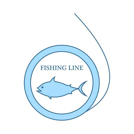 Icon Of Fishing Line. Thin Line With Blue Fill Design. Vector Illustration.