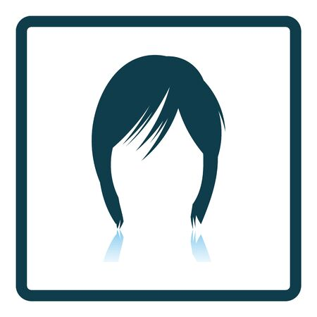 Woman Hair Dress. Square Shadow Reflection Design. Vector Illustration. Illustration