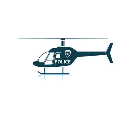 Police Helicopter Icon. Shadow Reflection Design. Vector Illustration.