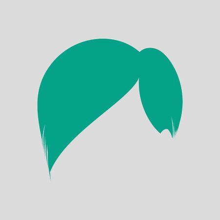 Man Hair Dress. Green on Gray Background. Vector Illustration. 矢量图像