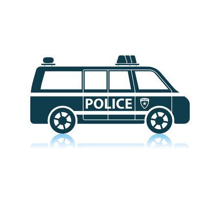 Police Van Icon. Shadow Reflection Design. Vector Illustration. Foto de archivo - 125076493