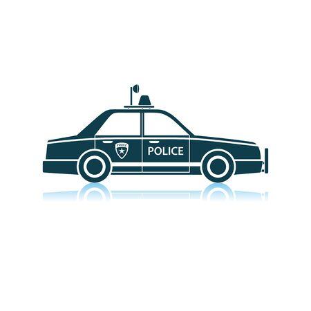 Police Car Icon. Shadow Reflection Design. Vector Illustration. Foto de archivo - 125076494