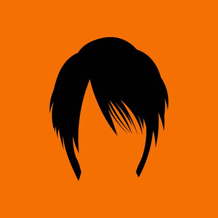 Woman Hair Dress. Black on Orange Background. Vector Illustration.