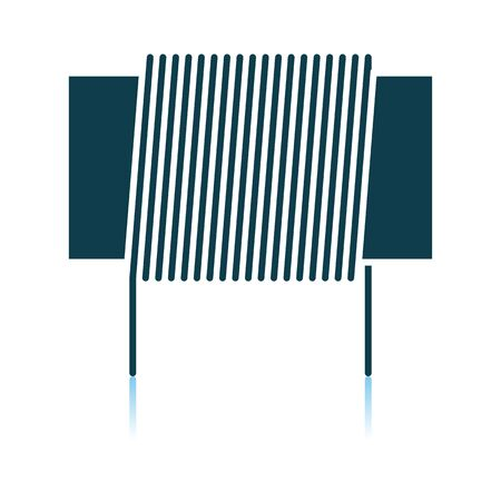 Inductor Coil Icon. Shadow Reflection Design. Vector Illustration. Illustration