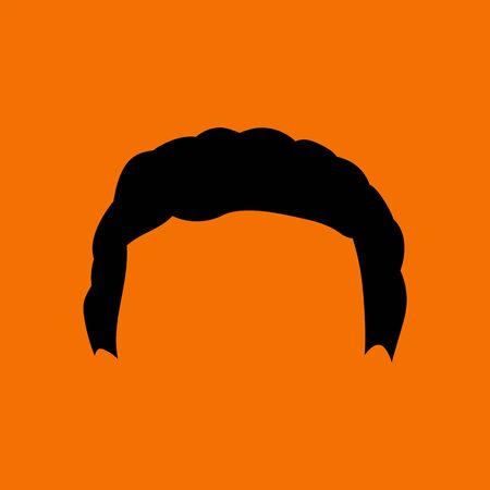 Man Hair Dress. Black on Orange Background. Vector Illustration.