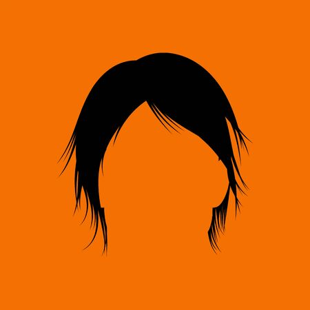 Man Hair Dress. Black on Orange Background. Vector Illustration.