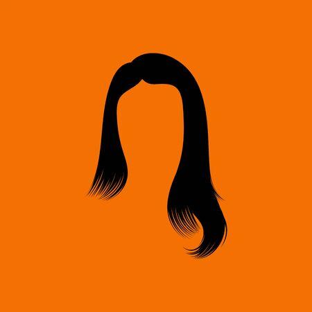Woman Hair Dress. Black on Orange Background. Vector Illustration.