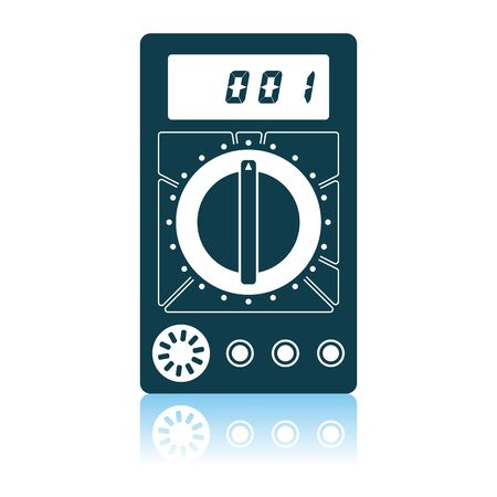 Multimeter Icon. Shadow Reflection Design. Vector Illustration.