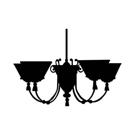 Lamp Silhouette. Simple Black Design. Vector illustration.