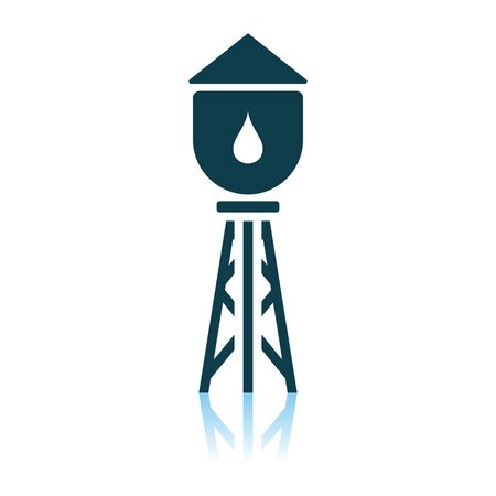 Water Tower Icon. Shadow Reflection Design. Vector Illustration. Ilustração