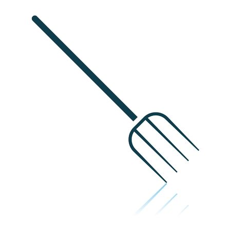 Pitchfork Icon. Shadow Reflection Design. Vector Illustration.