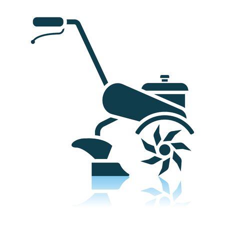 Garden Tiller Icon. Shadow Reflection Design. Vector Illustration.