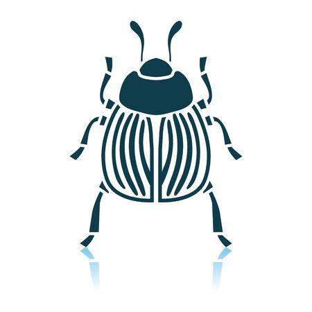 Colorado Beetle Icon. Shadow Reflection Design. Vector Illustration. Vektorgrafik