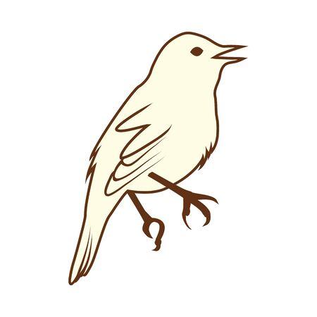 Sketch of Bird. Brown Line Color Design. Vector Illustration.