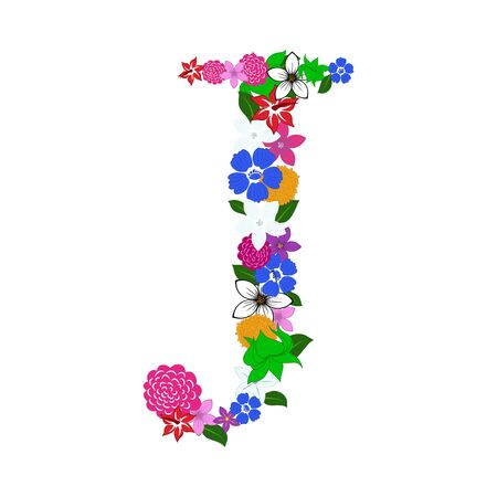 Floral Alphabet Letter. Colorfull on White Design. Vector illustration. 免版税图像 - 125157728