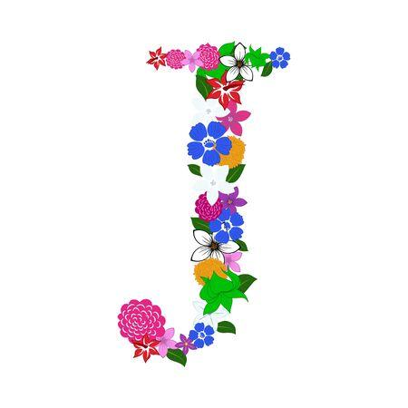 Floral Alphabet Letter. Colorfull on White Design. Vector illustration.