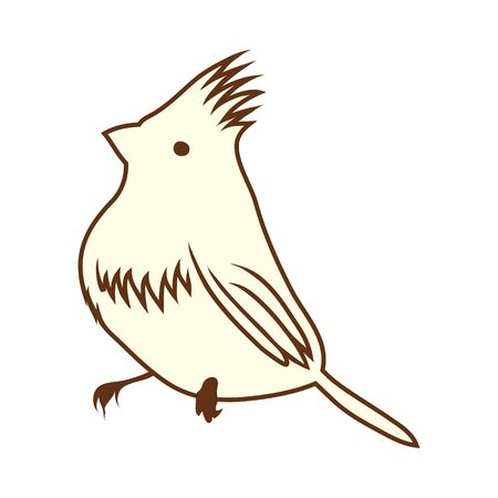Sketch of Bird. Brown Line Color Design.  Vector Illustration.