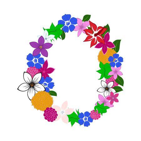 Floral Alphabet Letter. Colorfull on White Design. Vector illustration. Imagens - 125153211