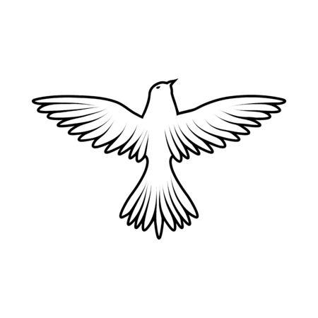 Boceto de pájaro. Diseño de esquema. Ilustración de vector.
