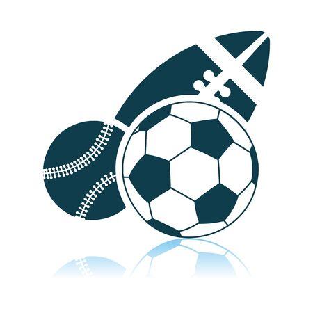 Sport Balls Icon. Shadow Reflection Design. Vector Illustration.