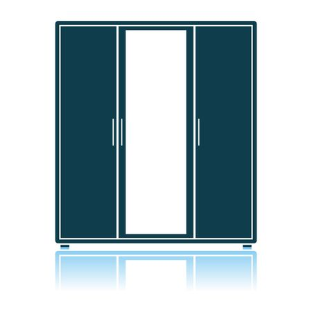 Wardrobe With Mirror Icon. Shadow Reflection Design. Vector Illustration.