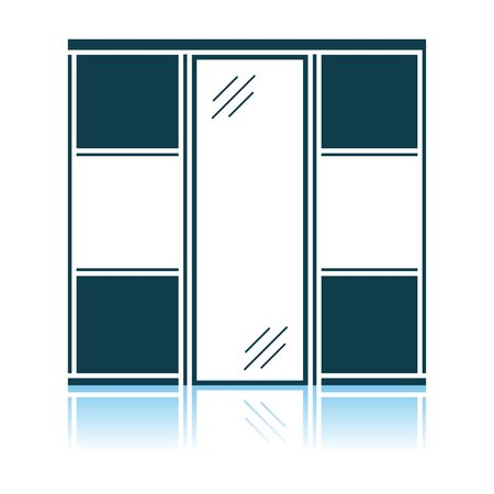 Wardrobe Closet Icon. Shadow Reflection Design. Vector Illustration.
