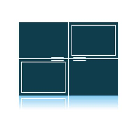 Wall Cabinet Icon. Shadow Reflection Design. Vector Illustration.
