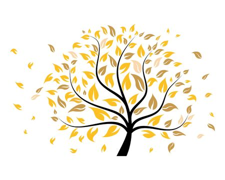 Autumn tree with falling down leaves. Vector illustration.