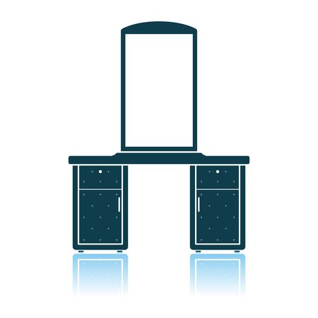 Dresser With Mirror Icon. Shadow Reflection Design. Vector Illustration. Ilustrace