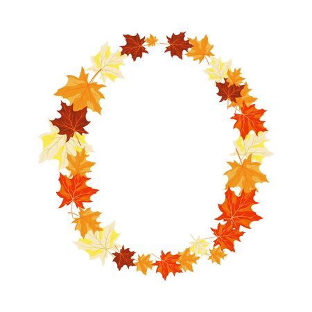 Autumn Maples Leaves Letter. Golden Fall Design. Vector illustration. Illustration