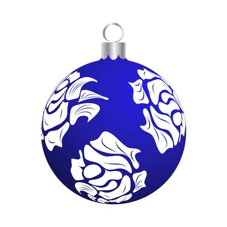 Christmas (New Year) Ball. Blue With Silver Design. Vector Illustration.