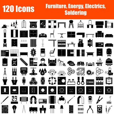 Set of 120 Icons. Furniture, Energy, Electrics, Soldering themes. Black Color Stencil Design. Vector Illustration.