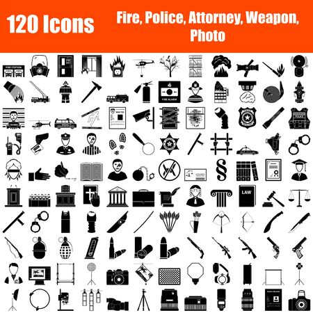 Set of 120 Icons. Fire Service, Police, Lawyer, Weapon, Photo themes. Black Color Stencil Design. Vector Illustration.
