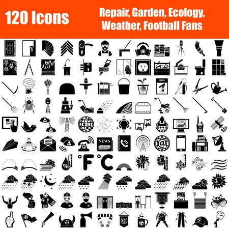 Set of 120 Icons. Repair, Garden, Ecology, Weather, Football Fans Themes. Black Color Stencil Design. Vector Illustration.