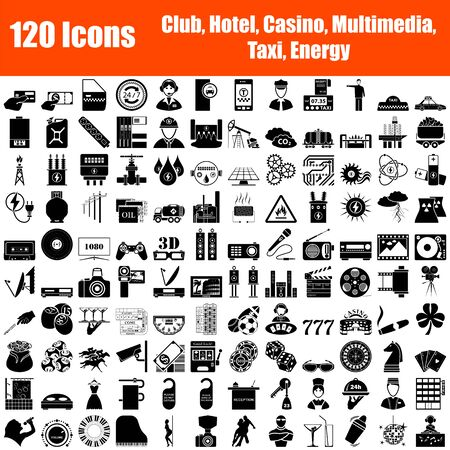 Set of 120 Icons. Night Club, Hotel, Casino, Multimedia, Taxi, Energy themes. Black Color Stencil Design. Vector Illustration. Vectores