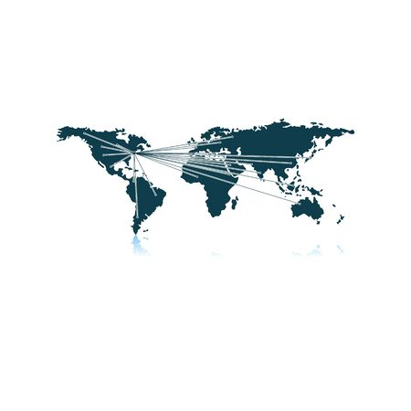 Map With Directions To All Part Of The World. Shadow Reflection Design. Vector Illustration.