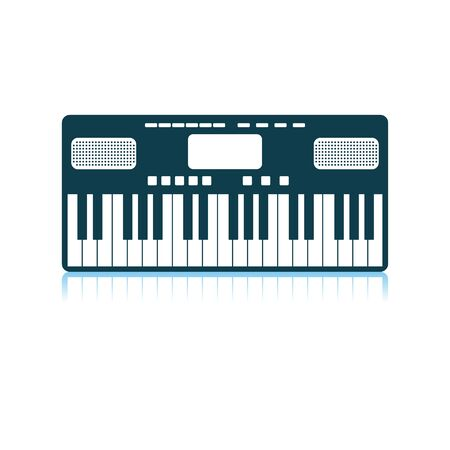 Music Synthesizer Icon. Shadow Reflection Design. Vector Illustration.