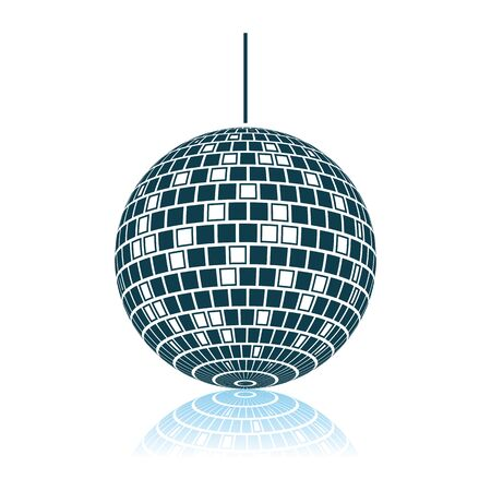 Party Disco Sphere Icon. Shadow Reflection Design. Vector Illustration.