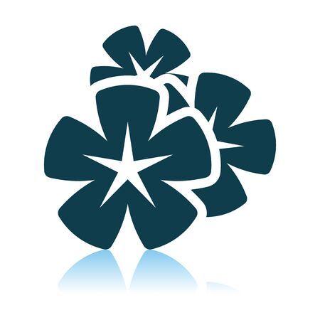 Frangipani Flower Icon. Shadow Reflection Design. Vector Illustration.