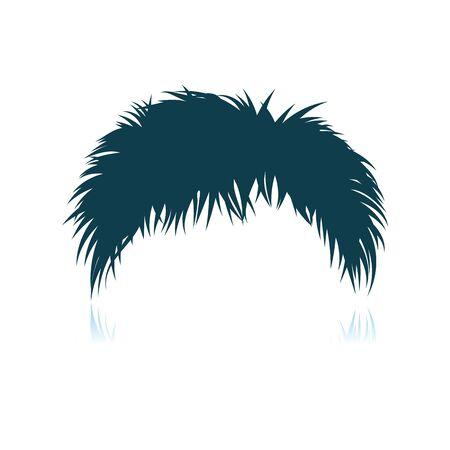 Man Hair Dress. Shadow Reflection Design. Vector Illustration.