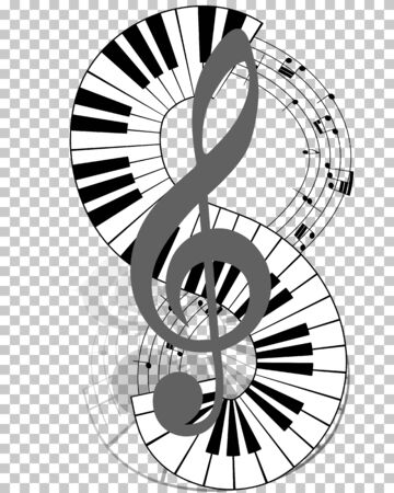 Musical notes staff with piano keyboard. Vector illustration.