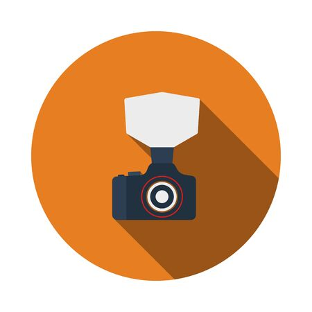 Camera With Fashion Flash Icon. Flat Circle Stencil Design With Long Shadow. Vector Illustration.