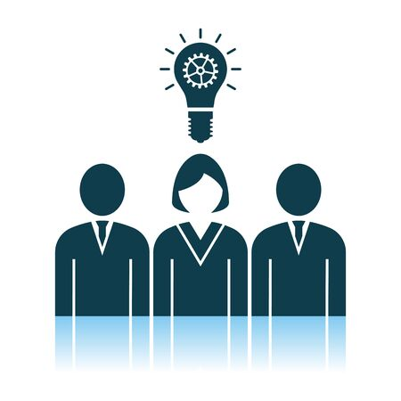 Corporate Team Finding New Idea With Woman Leader Icon. Shadow Reflection Design. Vector Illustration. Иллюстрация