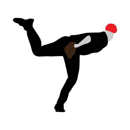 Highly detailed baseball athlete silhouette. Fully editable EPS 10 vector illustration.