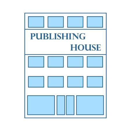 Publishing House Icon. Thin Line With Blue Fill Design. Vector Illustration.