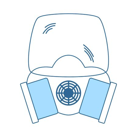 Icon Of Chemistry Gas Mask. Thin Line With Blue Fill Design. Vector Illustration. Vettoriali