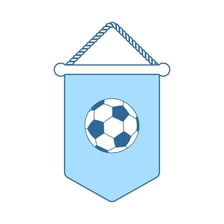 Football Pennant Icon. Thin Line With Blue Fill Design. Vector Illustration.